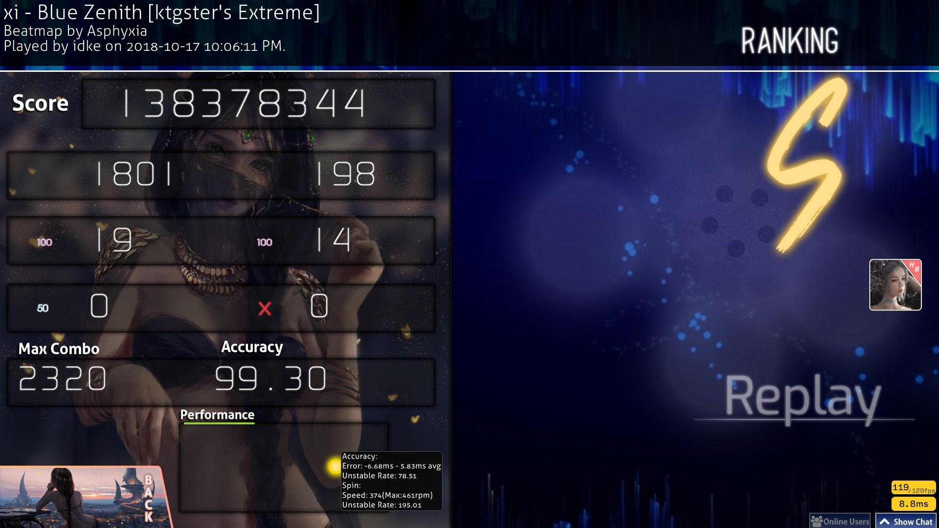 idke | xi - Blue Zenith [ktgster's Extreme] (Asphyxia mapset | 6.93*) +HR (99.30%) FC #8 | 599pp | 78.51UR